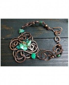 Artisan bracelet made with Chrysoprase and Copper