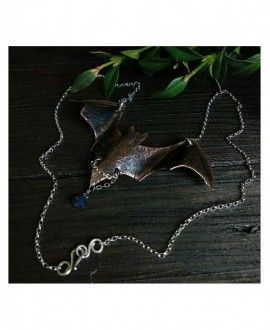 "Artisan necklace ""Bat"". Made in silver, copper and sapphire"