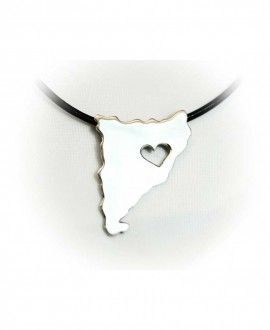 Silver Handmade Pendant Catalonia Silhouette and heart