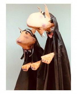 Paper Mache Figures Dracula Couple by Cartrons