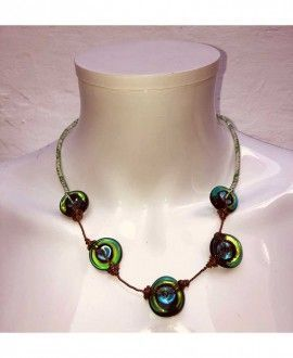 Handmade Murano glass and copper necklace by The Working Glass