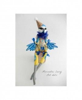 Alexandra Soury Handmade Air Dry Clay Doll Circus Aconite the Blue