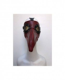 Leather Plague Doctor Handmade Red Mask