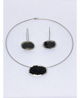 Necklace and Earrings Set Silver and recycled glass handmade