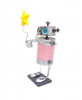Tin Can Robot Pink with Star by Carolata