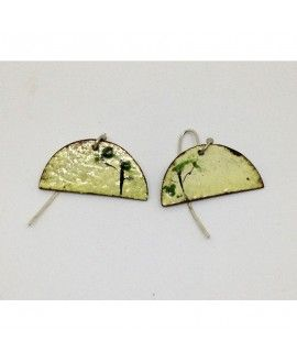 AAmarita Earrings I03. Handmade silver and cooper enamel fire